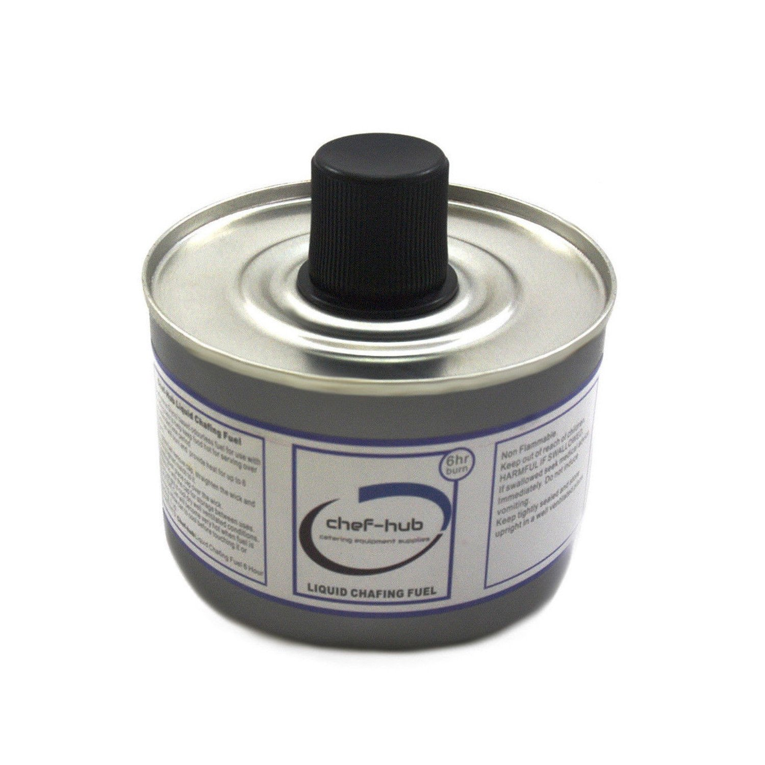 Chef-hub, 24 Tin X Chafing Fuel Liquid Gel, 6 Hour Burn Time, Stainless Steel, Ideal For Weddings, Banquets, Buffets, Hotels, and More.