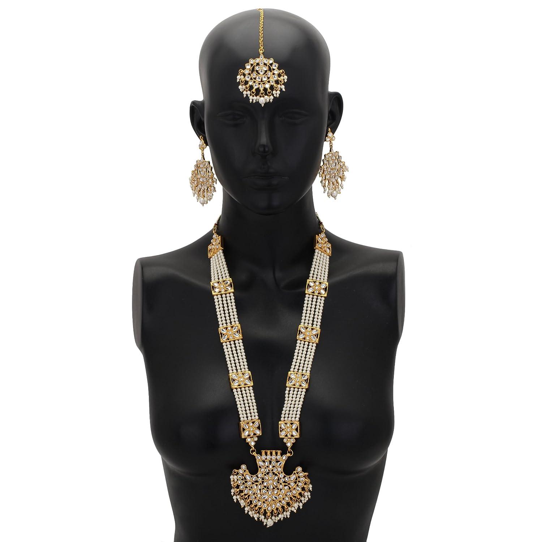 Jwellmart Womens Diva Collection White Kundan Stone Faux Pearl Rani Haar Necklace Earrings Set