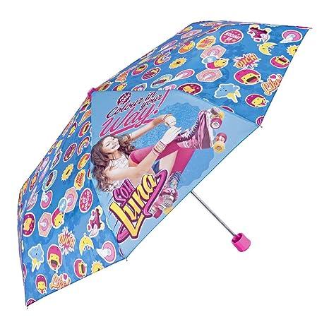 Paraguas Disney Soy Luna de Niña - Plegable Ligero Compacto y Antiviento - Azul - 7