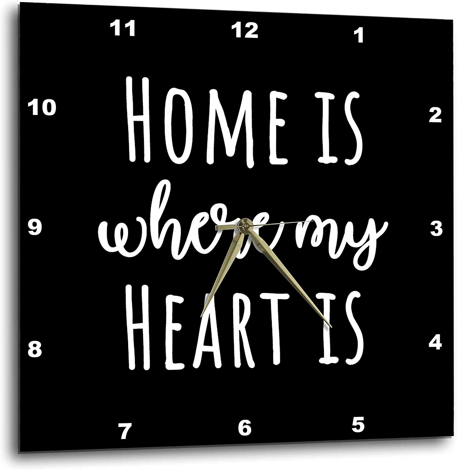 3dRose Stamp City - Typography - Home is Where My Heart is. White Lettering on Black Background. - 10x10 Wall Clock (DPP_325050_1)