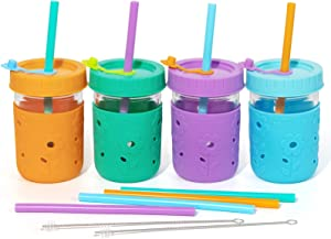 4 Pack Kids & Toddler Cups - 8 OZ Smoothie Snack Cups Spill Proof Glass Mason Jars with Silicone Straws/Sleeves/Stoppers, Portable Baby Sippy Cups Kids Tumbler Container for Drinking, Food Storage