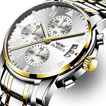 OLMECA Mens Watch Luxury Fashion Wrist Watches Stainless Steel Strap Analog Quartz Waterproof Chronograph Watch for
