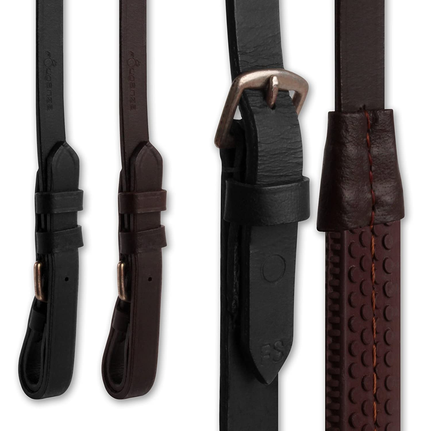 Knight Rider Finest Imported Leather Rubber Grip Horse Riding Reins AND Tigerbox® Antibacterial Pen!