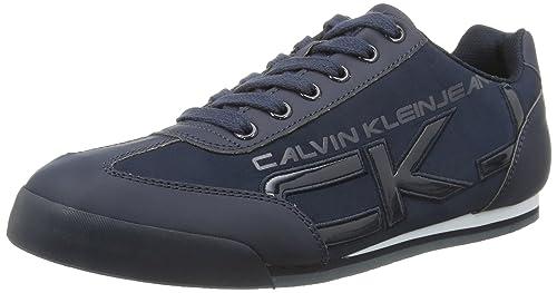 Calvin Klein Cale Matte Smooth/Patent - Zapatillas para Hombre, BLU (BLU (Navy)), 44