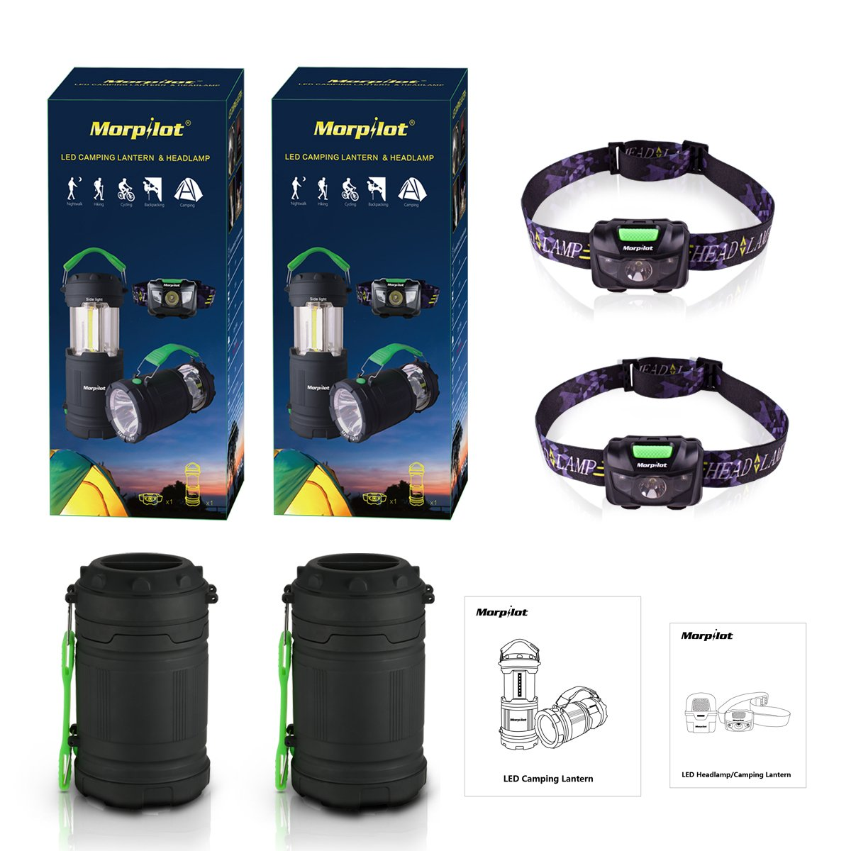 Combo: 2 Pack Morpilot Camping Lantern Outdoor Portable LED with Flashlight 7 Modes & LED Headlamp 5 Modes with Red Strobe.
