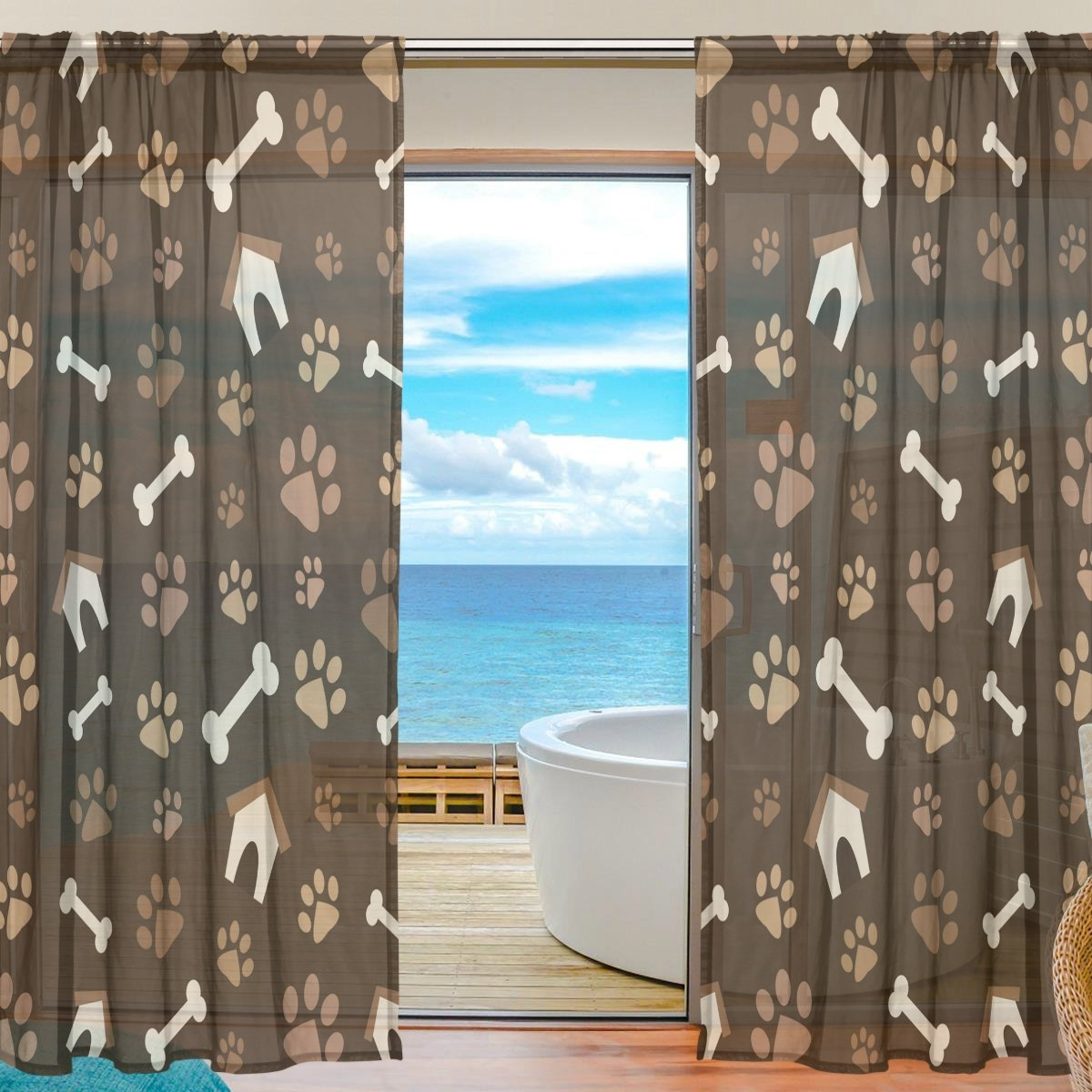 SEULIFE Window Sheer Curtain, Animal Dog Paw Prints Bones House Voile Curtain Drapes for Door Kitchen Living Room Bedroom 55x78 inches 2 Panels g3911313p112c126s167