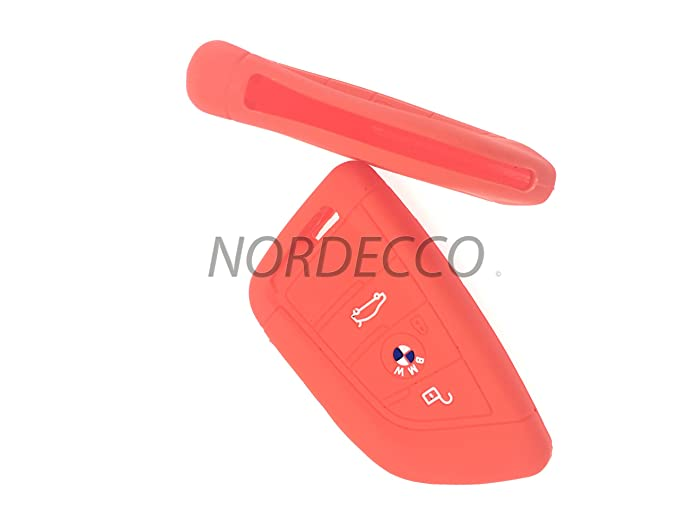 BMW HIGH SILICONE KEYLESS SMART 3 4 BUTTON KEY FOB PROTECTOR CASE COMPATIBLE 2 SERIES X1 X5 X6 F15 F22 F45 F46 2014 2015 2016 NEW 7 SERIES 2017 RED