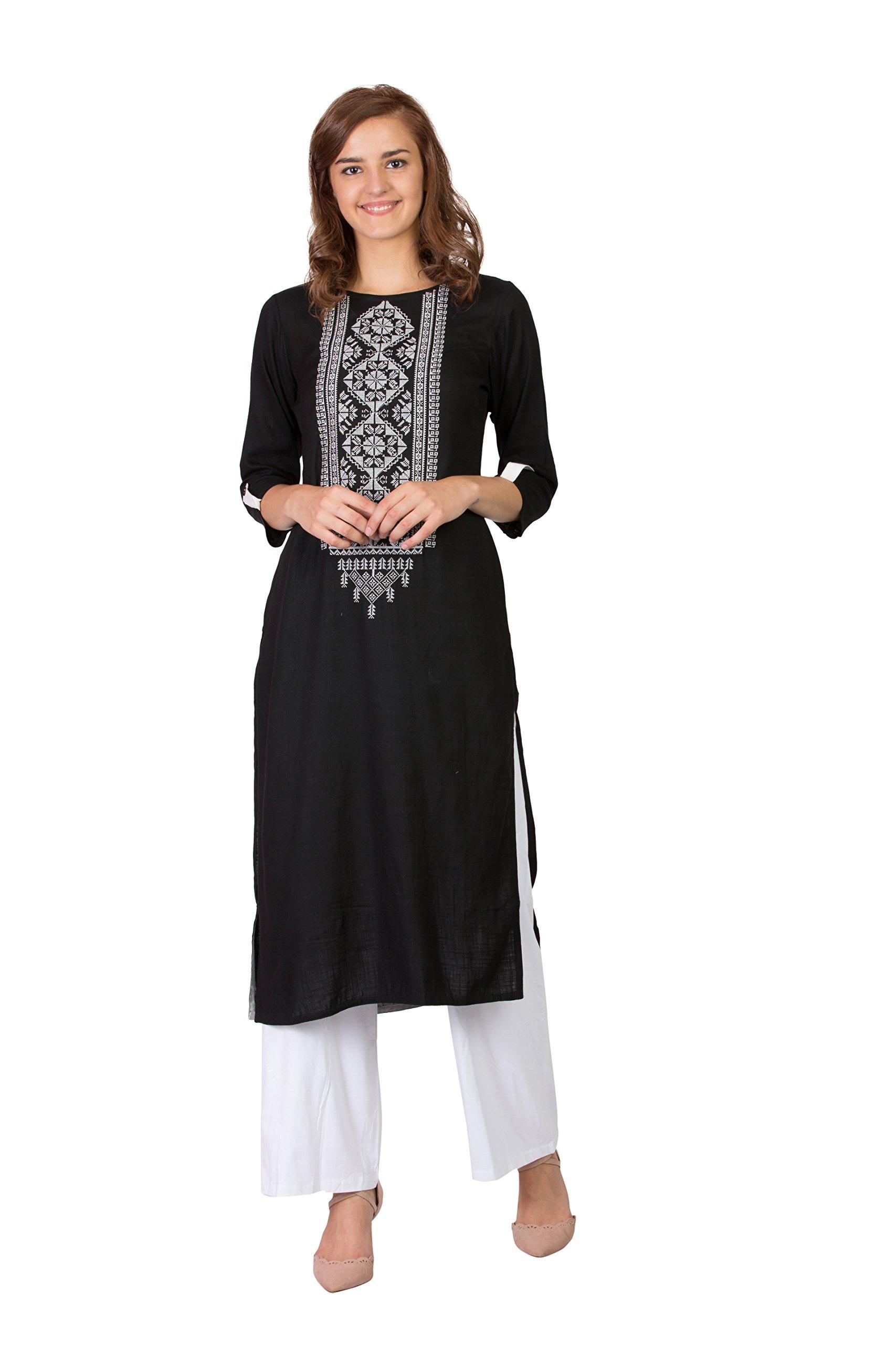 SABHYATA Women's Kurta 100% Pure Cotton Kurti for Women Tunic Casual Long Multicoloured Dress (Small, Black (182rc1-xl)