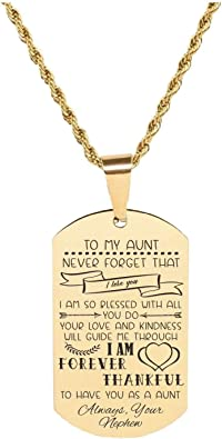 Pink Box Solid Stainless Steel Sentimental Message Tag Necklace to Grandpa from Granddaughter Gold