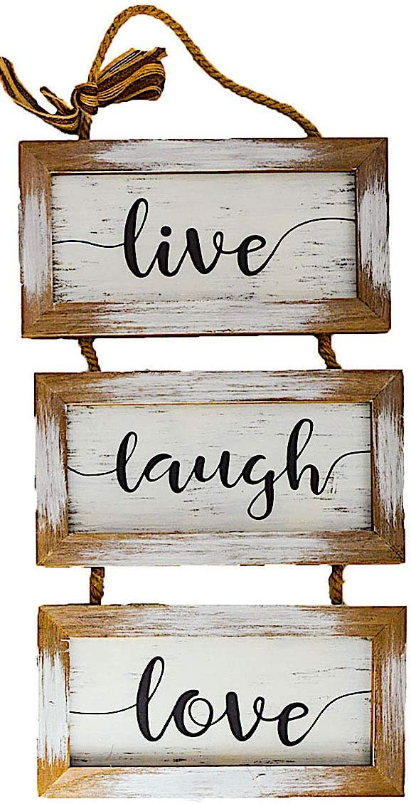 "S.T.C. Home Family Sign for Wall Front Door Indoor Outdoor Country Rustic Primitive Decor Art 20"" x 9"" (Live Laugh Love)"