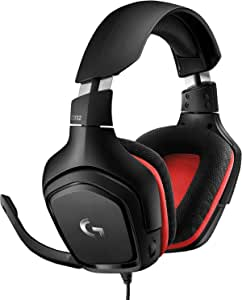 Logitech G332 Wired Gaming Headset, Stereo Audio, 50 mm Audio Drivers, 3.5 mm Audio Jack, Flip-to-Mute Mic, Rotating Ear Cups, Lightweight, PC/Mac/Xbox One/PS4/Nintendo Switch - Black/Red