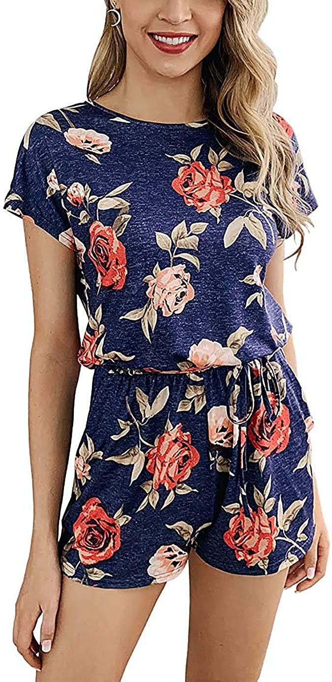 DREAGAL Women Summer Short Sleeves Floral Print Rompers Elastic Waist Playsuit with Pockets