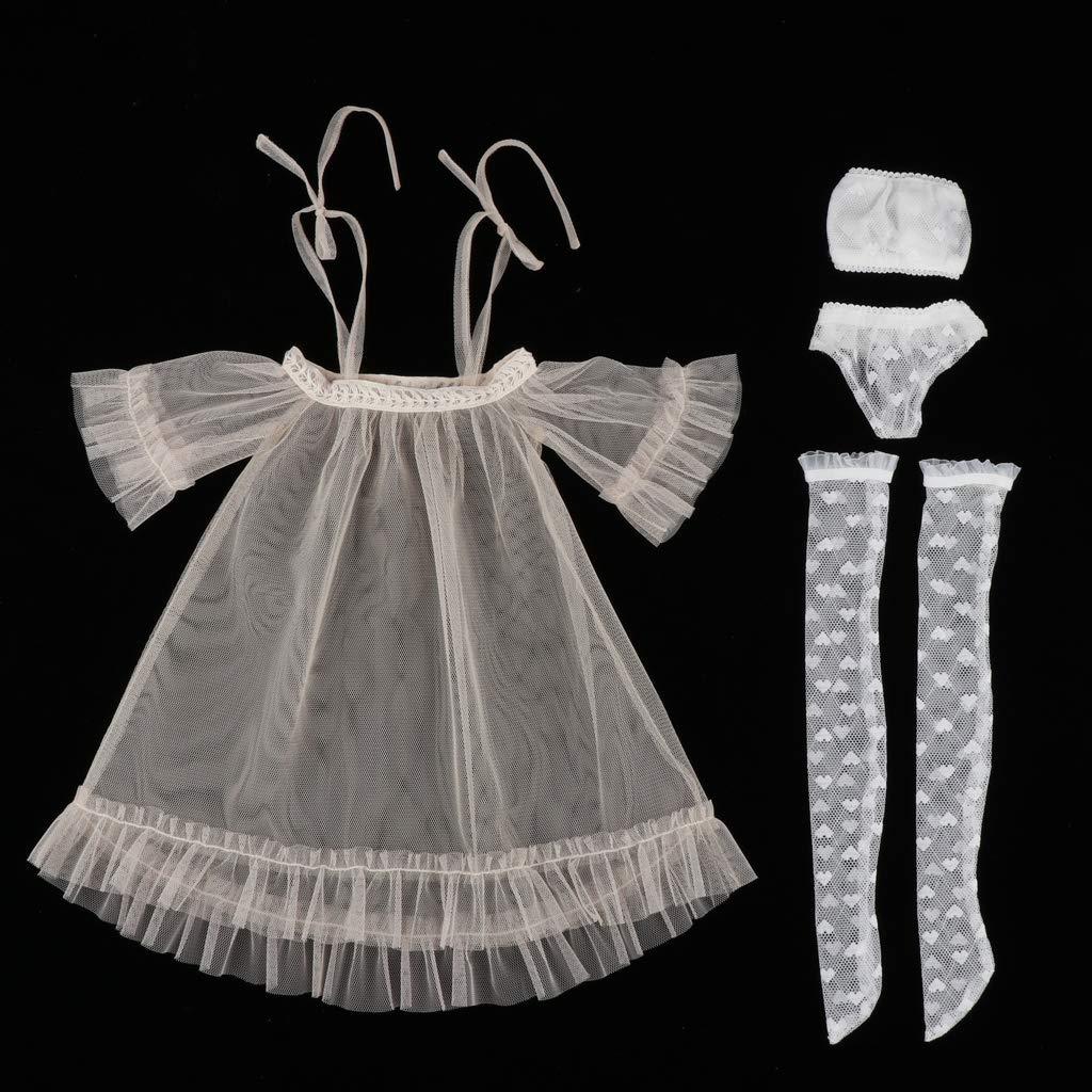 Tr/ägerlose Bralette Unterhosen f/ür 1//3 BJD Puppen Dress Up T TOOYFUL 4pcs Puppe Kleidung Puppenkleid Spitzenkleid Strumpf Rosa