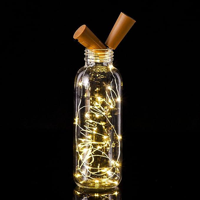 6 Paquetes de Luces de Botella Luces en Forma de Corcho con 20 LEDs Micro para Fiesta Cumpleaños Boda Decoración de Mesa de Hogar, Blanca Cálida, ...