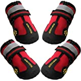 QUMY Dog Boots Waterproof Shoes for Dogs with Reflective Velcro Rugged Anti-Slip Sole Black 4PCS