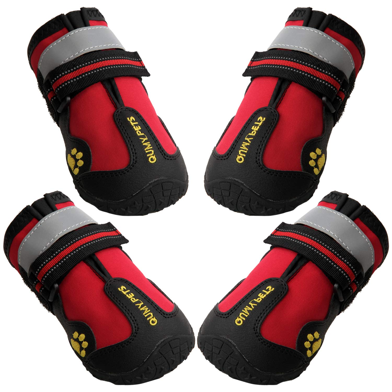 QUMY Dog Boots Waterproof Shoes for Large Dogs with Reflective Velcro Rugged Anti-Slip Sole Black 4PCS (Size 8: 3.3''x2.9''(LW), Red) by QUMY