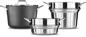 Calphalon Premier Hard-Anodized Nonstick Cookware 8-Quart Multi-Pot with Pasta and Steamer Inserts and Cover, Black