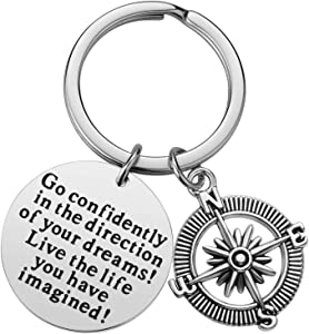Inspirational Keychain Gifts - Go Confidently in The Direction of Your Dreams Live The Life You Have Imagined Compass Jewelry Graduation Gift Birthday Gift