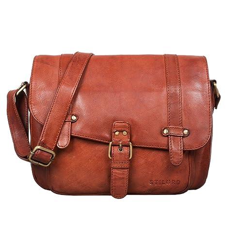 65313b0ec3 STILORD 'Lara' borsa donna a tracolla vintage in vera pelle formato piccolo  Borsetta a