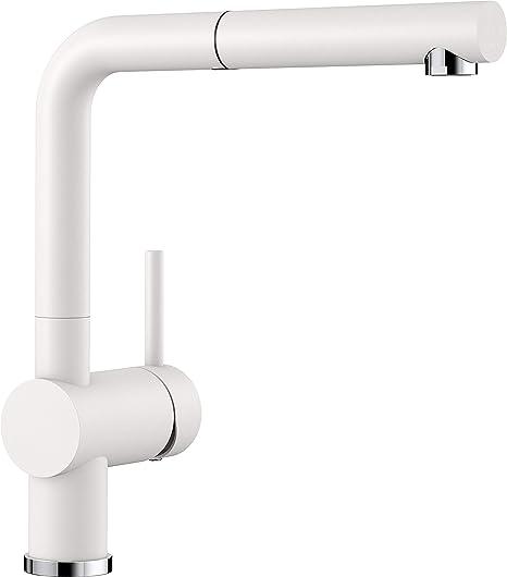 Blanco Linus-S, Küchenarmatur - Einhebelmischer mit ausziehbarer  Schlauchbrause, Silgranitweiß, Hochdruck, 1 Stück, 516692