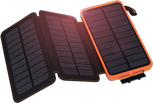 Hiluckey Cargador Solar 10000mAh 3 Solar Panels Power Bank batería solar Placa Batería Plegable para el