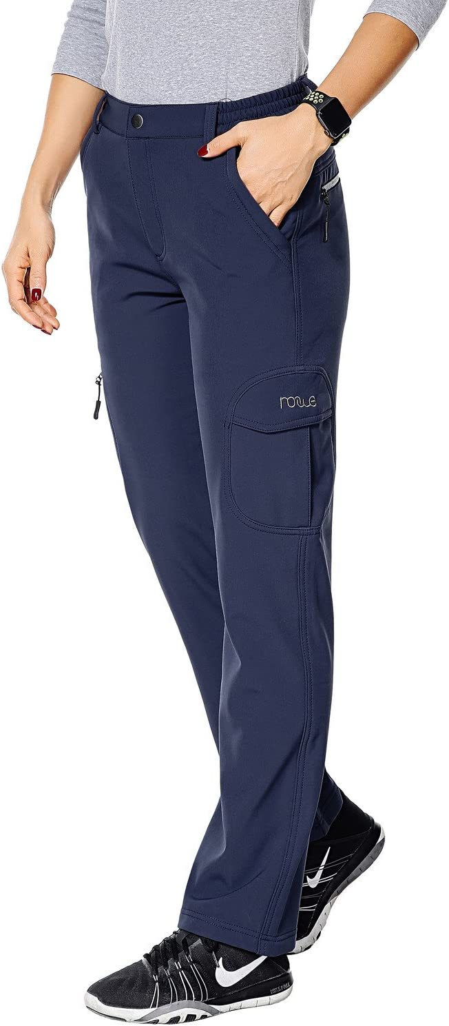 Nonwe Womens Outdoor Water-Resistant Fleece Lined Hiking Cargo Snow Pants