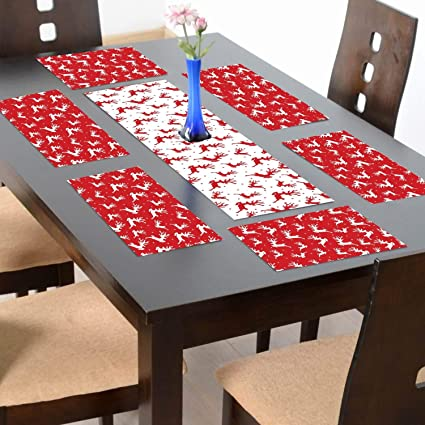 YaYa Cafe Christmas Decorations Table Runner Cloth Cover – Reindeer Xmas Table Mats - 1 Runner 6 Mats