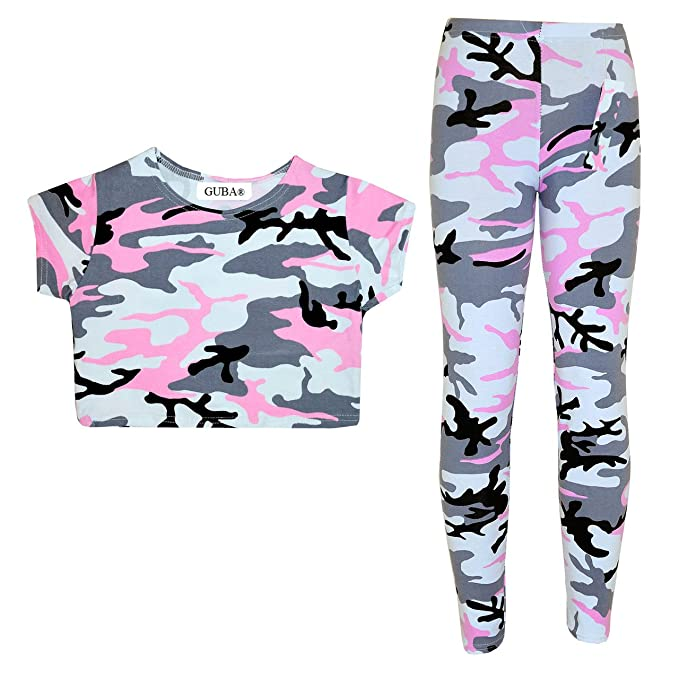 6ab2f7abae47e6 GUBA® New Girls Kids Leopard Camouflage Print Crop TOP & Legging 2PC Set  Fashion Outfits