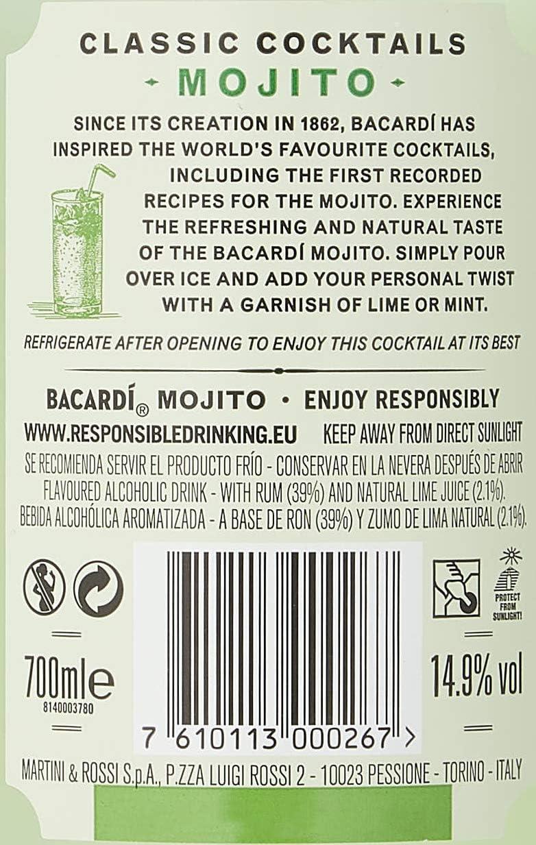 Bacardi Mojito PreMezclado, 700ml: Amazon.es: Alimentación y ...