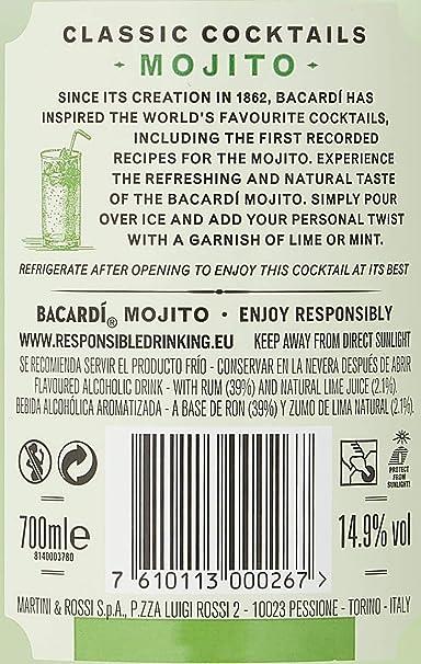 Bacardi Mojito PreMezclado, 700ml: Amazon.es: Alimentación ...