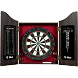 Rally and Roar Dartboard with Cabinet, 6 Darts, Dry Erase Scoreboard, Official Size, Brown