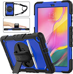 SEYMAC STOCK Galaxy Tab A 10.1 T510/T515/T517 Case 2019, Shockproof Full-Body Rugged Armor Case with 360 Rotating Stand Pencil Holder Screen Protector Hand Strap for Galaxy Tab A 10.1(Blue+Black)