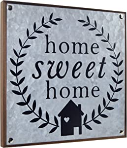 LESEN Galvanized Farmhouse Metal Wood Home Sweet Home Sign,Rustic Country Home Sign Plaque Wall Art Decor Accents,10x10 Inch