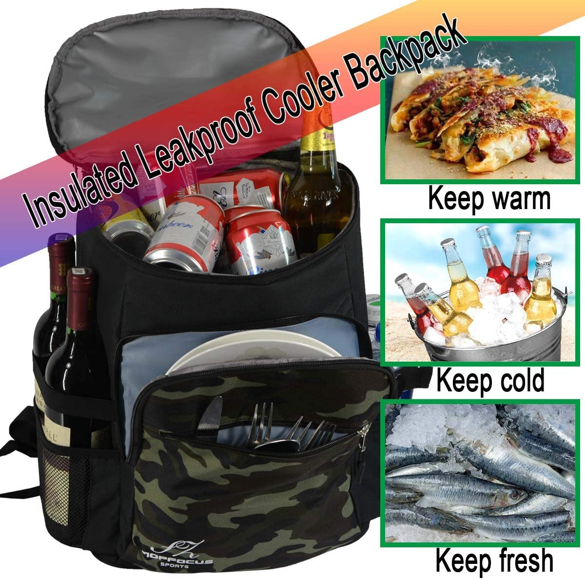 JIRUIWEN Leakproof Insulated Backpack Cooler Roomy Hiking Daypacks Waterproof Cooler Bag for Work Children/'s Lunch Picnic Event Trip Beach Sporting