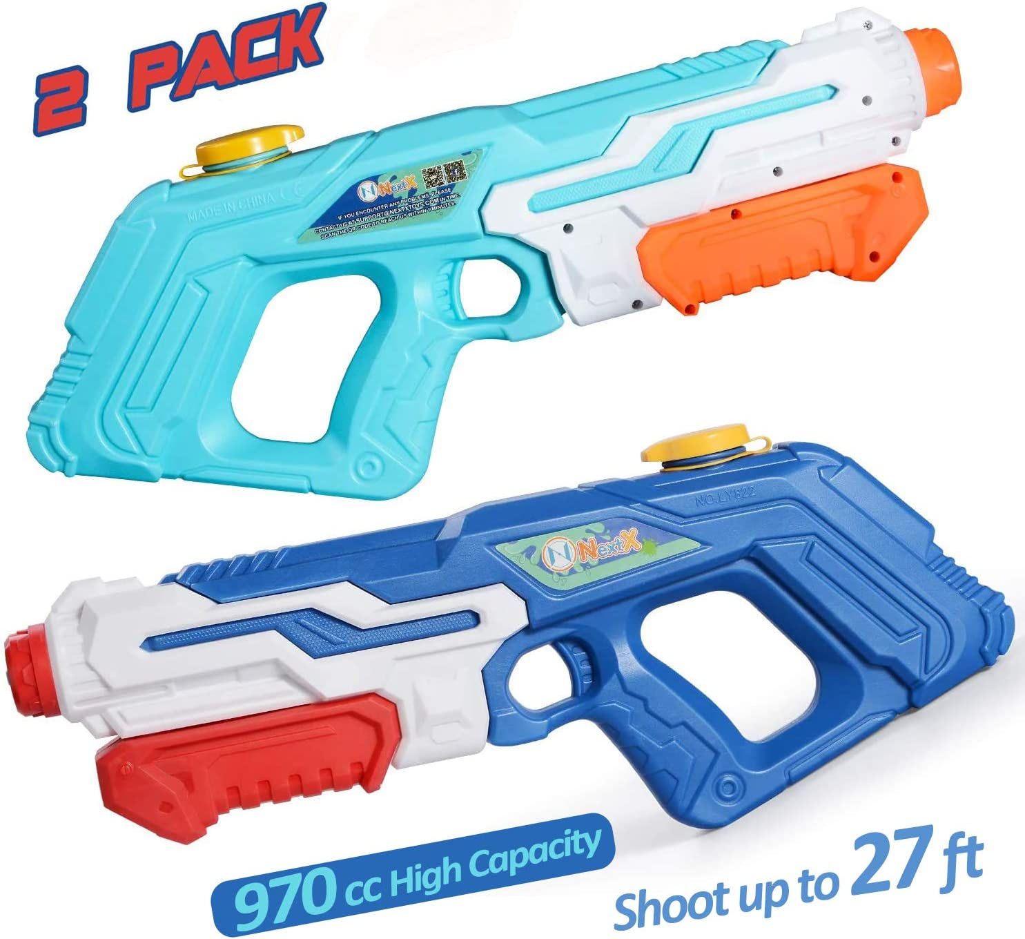 NextX Water Gun Super Blaster, 970 cc High Capacity Squirt Guns for Kids Adult, Water Pistol for Swimming Pool Beach Sand Water Fighting Toy (2 Pack)