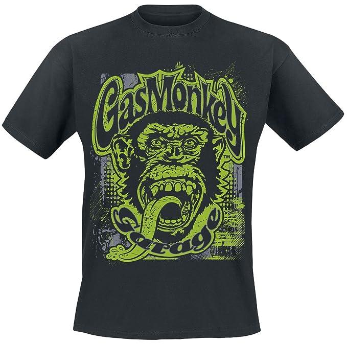 Gas Monkey Garage Green Grunge Camiseta Negro nuOmaY1cpM