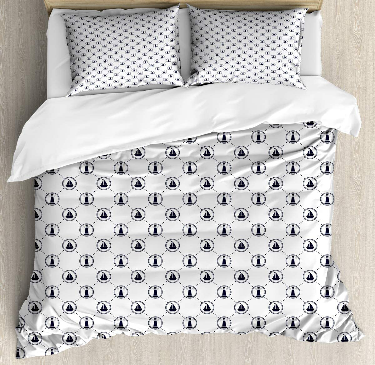 "Bedding Set Maritime Circles Dot Duvet Cover Set1 Duvet Cover + 2 Pillow Shams70 x86/19""x29""inch"