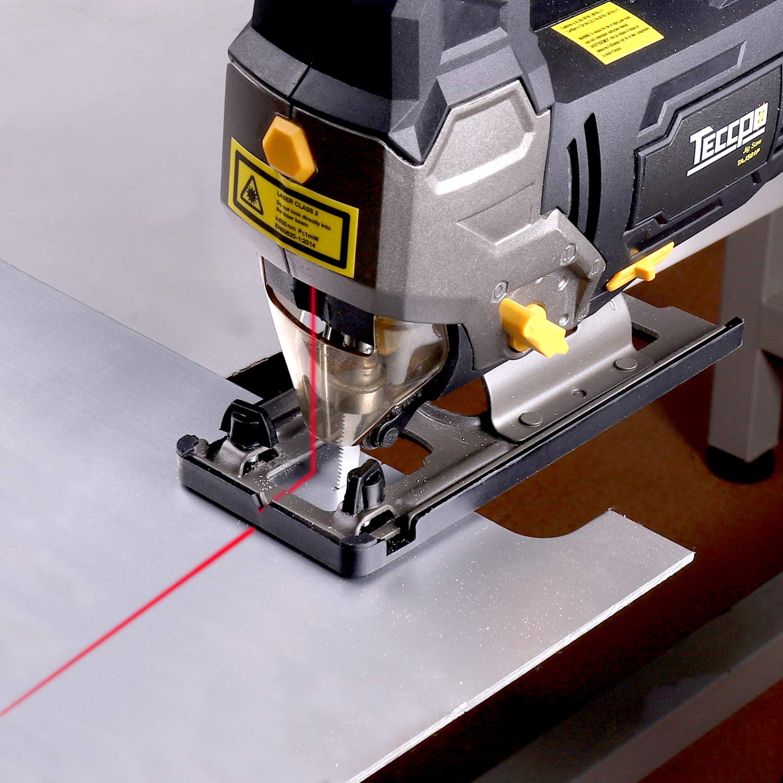 Stichs/äge Kunststoff 6 variable Geschwindigkeiten und Blasfunktion Metall TECCPO 800W elektrische Stichs/äge mit Laser 6 S/ägebl/ätter f/ür Holz 45/° Doppelseitenschnitt Gipskartonplatten
