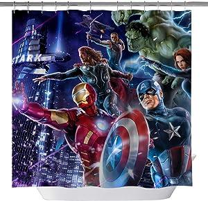 Marvel Hero Shower Curtains, Iron Man Captain America Hulk Raytheon Custom Made Machine Washable Waterproof Polyester Fabric Shower Curtain, 3D Bathroom Curtain Set with Hooks, 71X 71 in