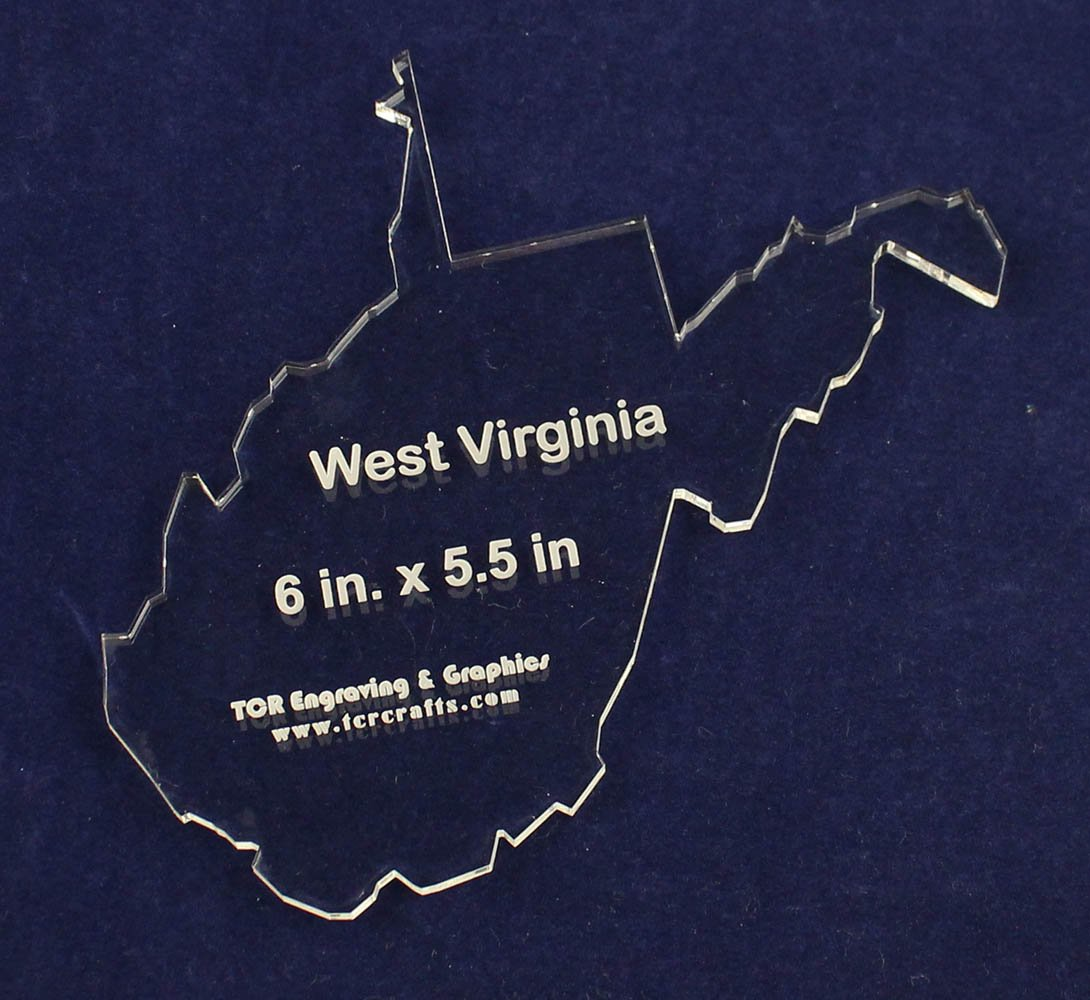 Clear 1//4 Thick Acrylic State of West Virginia Template 6 X 5.5