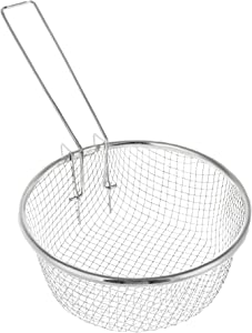 Round Stainless Mesh Basket - 7 Inch - French Fryer Baskets With Handle - Deep Wire Fries Strainers