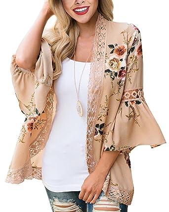 a5d234a675 JunJunBag Veste Gilet Cardigan Femme à Manche Longue Kimono Lâche Couver Up  Plage Blouse Top Imprimé