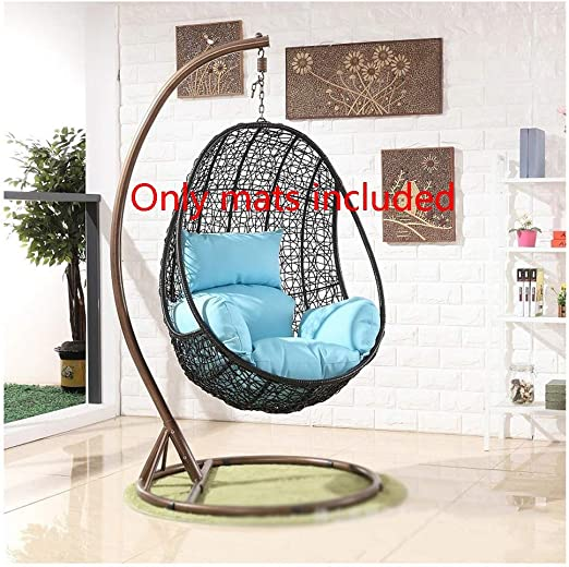Hammock Swing Seat Cushion with Pillow,Rattan Hanging Swing Chair with Stand,Cushion and Cover Thick Padded Bed Recliner Relaxer Chair Seat Cove Hanging Basket Chair Cushion Color : Color 5+Green