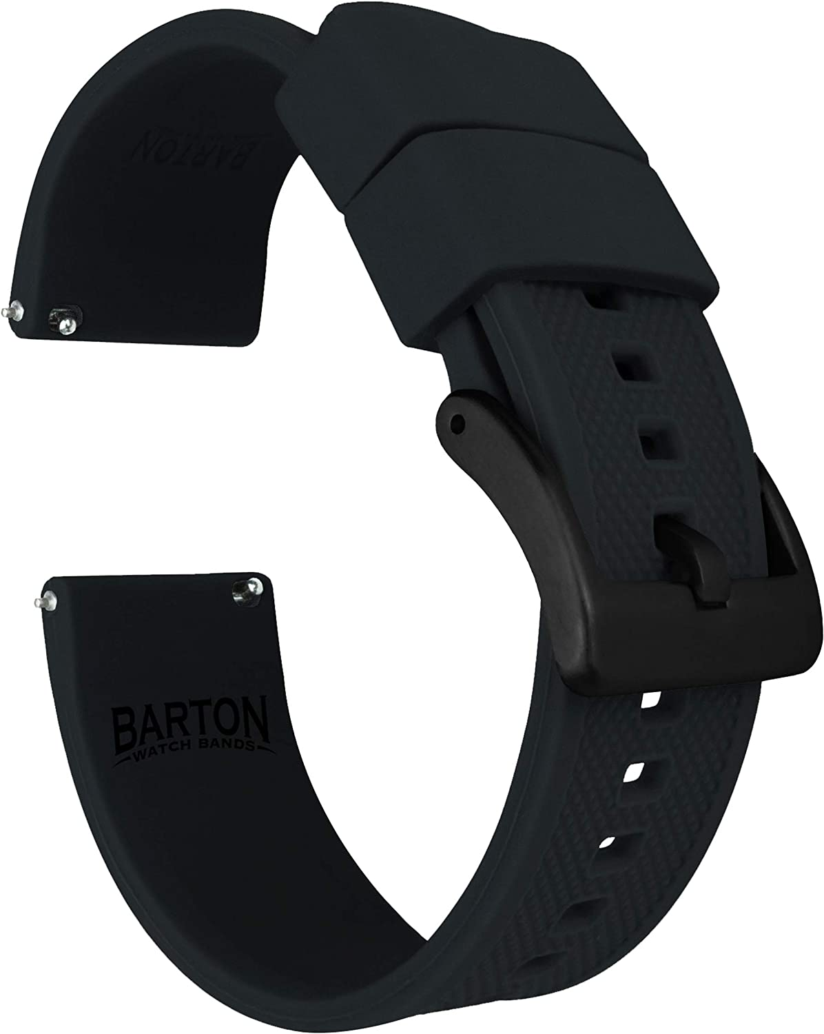 BARTON Watch Bands - Elite Silicone Watch Straps - Black Buckle Quick Release - Choose Color & Width - 18mm, 19mm, 20mm, 21mm, 22mm, 23mm & 24mm - Textured Rubber Watch Straps
