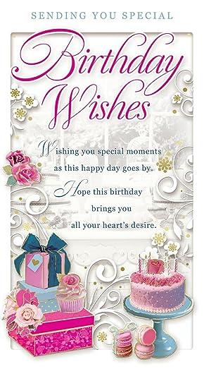 Opacity Offene Weiblich Geburtstagskarte Happy Birthday Cupcakes Rosen Presents 229 X