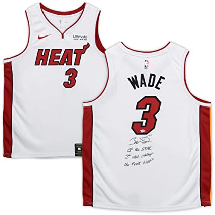 7984cfdb43f Dwyane Wade Miami Heat Autographed Nike White Swingman Jersey with Multiple  Inscriptions - Limited Edition 25