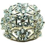 CaratYogi Genuine Round Blue Topaz Silver Ring Culter Setting Handmade Jewelry Size 4,5,6,7,8,9,10,11,12