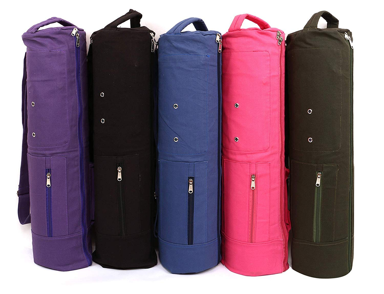 KD Yoga Mat Bag Cover Full Zip Large Size Double Storage Fits Yoga Mat, Block, Belt & More 3 Pockets(Navy, Duble Storage)