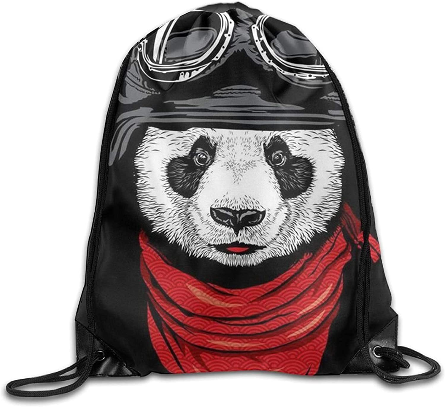 Cool Panda With Red Scarf Halloween Unisex Gym Drawstring Shoulder Bag Backpack String Bags