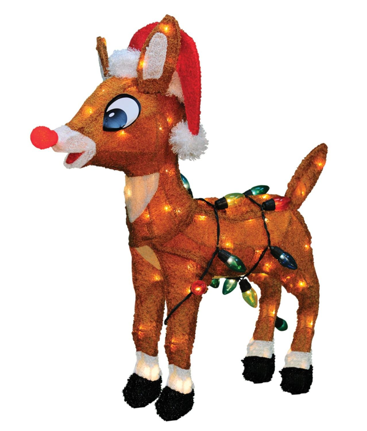 ProductWorks 24'' Pre-Lit Soft Tinsel Rudolph the Red-Nosed Reindeer Christmas Yard Art Decoration - Clear Lights